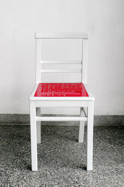 "Chair red & white ""who knows? ..."""